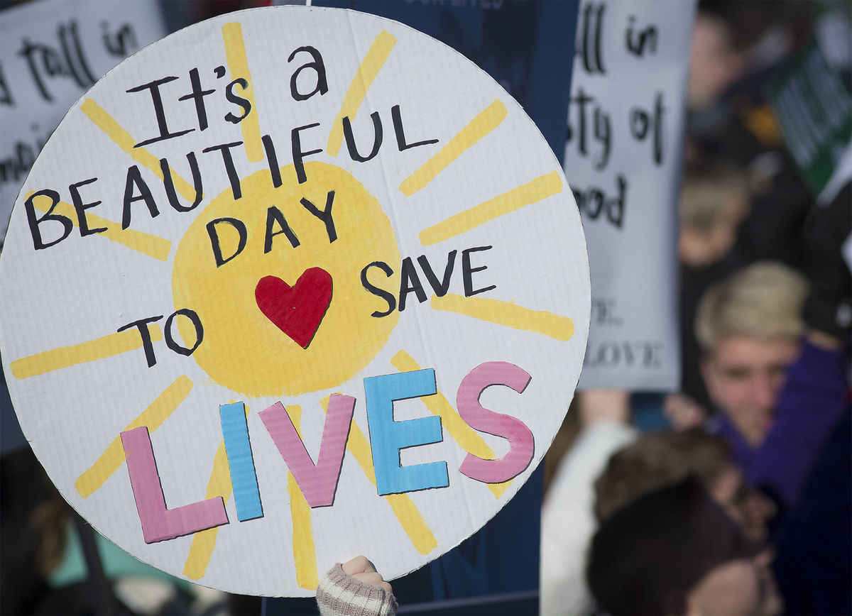 A pro-life sign is displayed during the annual March for Life rally in Washington Jan. 19