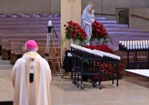 Archbishop José H. Gomez prays during Mother's Day Mass at the Cathedral of Our Lady of the Angels on May 10, 2020. (Pool photo/John McCoy)