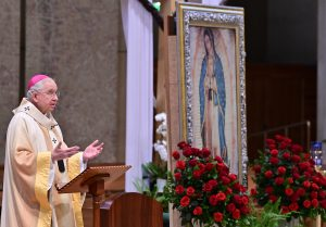 Archbishop José H. Gomez delivers the homily during Mother's Day Mass at the Cathedral of Our Lady of the Angels on May 10, 2020. (Pool photo/John McCoy)