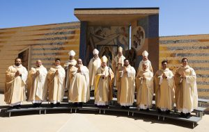 Archbishop José H. Gomez ordained eight new priests for the Archdiocese of Los Angeles on Aug. 8 in the plaza of the Cathedral of Our Lady of the Angels. (Victor Alemán)