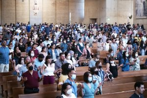 The Cathedral of Our Lady of the Angels was fully opened for Mass June 19, the first day that churches in the Archdiocese of Los Angeles were able to drop COVID-19 restrictions. (Victor Alemán)