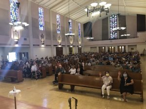 Parishioners packed the pews at St. Anthony Church in San Gabriel after COVID-19 restrictions were lifted.