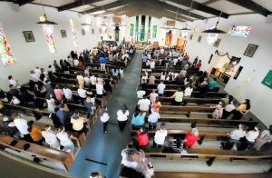 Parishioners attend Mass at St. Bridget of Sweden in Los Angeles.
